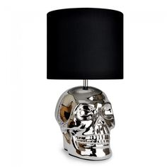 Chrome Plated 'Yorick' Skull Table Lamp with Black Fabric Shade