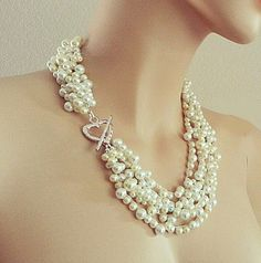 jewels chunky pearl necklace bridal pearl necklace wedding pearl necklace layered pearl necklace wedding jewelry vintage style handmade wedd...