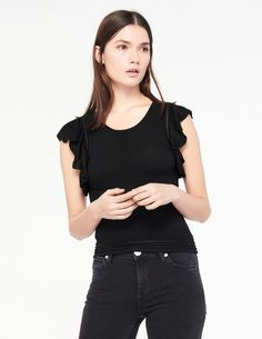 Elasticated Knit Cropped Top - Frilled - Tops & Shirts - Sandro-paris.com