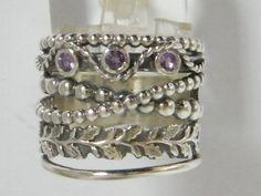 Genuine Shablool Didae Sterling Silver Ring Amethyst CZ Purple Ladies Women