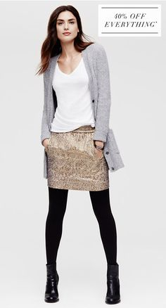 gold skirt, white tee, gray cardi, black tights & boots= casual way to wear metallic skirt