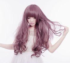 ♡ Material: High Temperature Japanese Fiber  ♡ Wig Cap: Included  ♡ Color: Taro Purple  ♡ Style: Slightly Curly Full Bangs