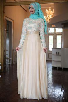 Hanefix Mint Tesettür Abiye Elbise