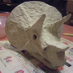 How to make a papier mache triceratops' skull