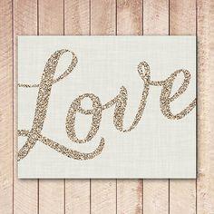 VALENTINE'S DAY: Valentines Love Printable, Gold Glitter Love Typography, Instant Download, Wedding Decor, Valentine Decor XSOQ