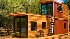 Waco-based Cargo Home has created the Helm, an amazing tiny home using just two shipping containers and a lot of design savvy. Container Home Designs, Tiny House Shipping Container, Shipping Containers, Cargo Home, Cheap Tiny House, Modern Bungalow House, Building A Deck, Green Building, Natural Building
