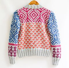 INGRID hand knit cardigan fair isle high fashion door ovejanegra, $156.00