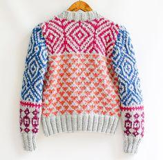 INGRID hand knit cardigan fair isle high fashion by ovejanegra, $156.00