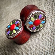 Colorful Mandala Bloodwood Plugs for Stretched Ears Sizes 00g(10mm) through 9/16 inch (14mm) Wooden Plug Gauges/
