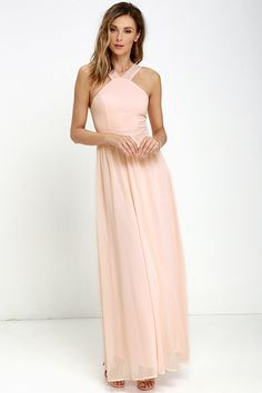 This would be beautiful hemmed a few inches about the knee! --- Air of Romance Peach Maxi Dress at Lulus.com!