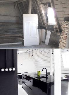 Zrujnowane poddasze zamienił w piękne wygodne mieszkanie. W salonie jest coś, czego próżno szukać w zwyczajnych wnętrzach - Dom