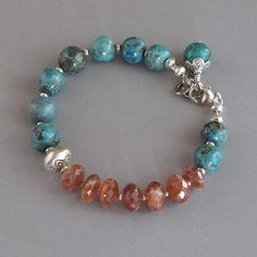Sunstone Bracelet Turquoise argent Sterling DJStrang Cottage Boho Chic du Sud-Ouest rustique Orange bleu vert Enfilade Perle Bead