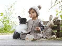 Mag 165 - - Gilet and hat Cute Kids, Cute Babies, Baby Kids, Knitting For Kids, Baby Knitting, Toddler Fashion, Kids Fashion, Little Ones, Little Girls