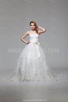 Ball Gown Sweetheart Court Train Satin Wedding Dress