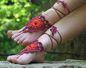 BAREFOOT SANDALS, Crochet, Wine Red, Red, Hippie Nude Shoes, Bohemian Beach Sandals, Gypsy Foot Jewelry, Lolita Summer Anklets, Cotton Shoes