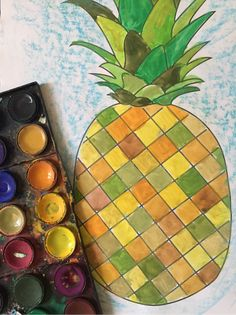 Tropical pineapple free printable template, experiment with colour and shape