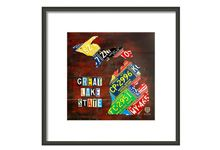 State License Plate Map Framed Prints from DT License Plate Art
