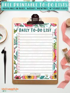 Free Printable To Do List: available in daily, weekly, monthly, and yearly. Perfect to get yourself and your home in order! Check off your tasks one by one and watch your to do list turn into a ta-da list! Monthly Cleaning Schedule, Cleaning Schedule Templates, Daily Cleaning, Printable Planner, Free Printables, Organize Your Life, Show And Tell, Getting Organized, Yearly