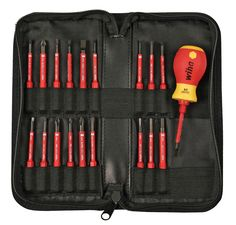 1000 Volt Rated Stubby insulated screwdriver with narrow SlimLine blades made of Wiha Exclusive CVM steel. Blades with Slotted, Phillips, Torx, Hex Metric, Combination Terminal Block Slotted/Phillips and Slotted/PoziDriv tips.