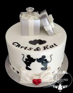 Disney Engagement cake - by lizzystreats @ CakesDecor.com - cake decorating website