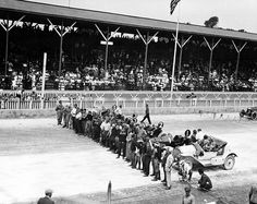 Description of . Drivers line up in front of their cars just before the start of the first Indianapolis 500-mile race on the Brickyard in Indianapolis, Ind., Tuesday, May 30, 1911.  This photo was taken by Henry Ford from the judge's stand.  (AP Photo)