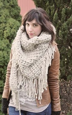 Triangle Shawl Scarf in Wheat. by janelle haskin