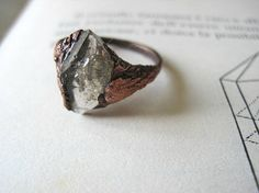 Herkimer diamond quartz ring size 65 oxidized raw copper