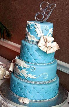 blue wedding cake swarovski