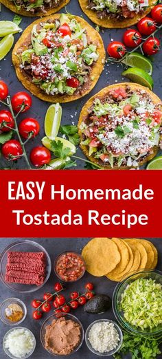 This contains: Homemade Tostadas are so satisfying and easy to make. These are loaded with refried beans, beef, and all of the best tostada toppings Tostada Recipes, Entree Recipes, Meat Recipes, Mexican Food Recipes, Appetizer Recipes, Healthy Recipes, Top Recipes, Appetizers, Fun Easy Recipes