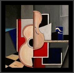 Guitare et Violon (Peinture), 80x80 cm par TEHOS Tableau de Tehos acrylique sur toile 80*80 cm