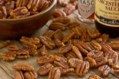 Yummy Savory Pecans - my sister-in-law shared this recipe with me and they are soooo good!  Great way to use Southern pecans!
