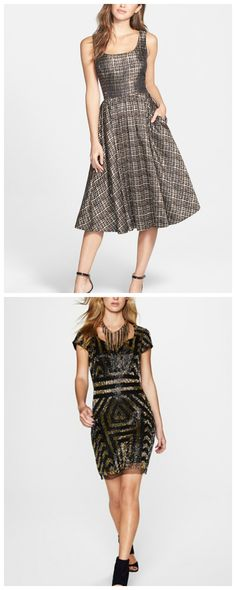 Shiny metallic dresses for the party season.