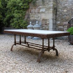 Dining Tables - A superb, mid century wrought iron garden table with a marble top in the style of Giacometti. This stylish and intricate table will seat 10 people comfortably . Wrought Iron Garden Furniture, Timber Furniture, Iron Furniture, French Dining Tables, Antique Dining Tables, Garden Sofa, Garden Seating, Metal Garden Table, Timber Table