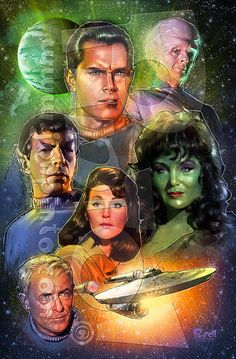The crew of the abandoned pilot episode of Star Trek!<br /><br />Measures />Please allow weeks for shipping. Star Trek Original Series, Star Trek Series, Tv Series, Akira, Science Fiction, Star Trek Posters, Star Trek Cast, Star Trek Borg, Star Wars