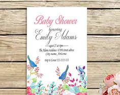 Baby shower invitation, Girl birds and flowers baby shower, Printable baby shower invitation, digital birds and flowers baby shower