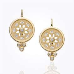 Item 18K Mandala Cutout Earrings with diamond
