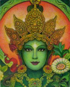 Green Tara spiritual art Buddha meditation by HalstenbergStudio