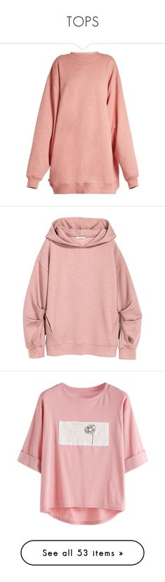 """TOPS"" by claaudinlov on Polyvore featuring tops, hoodies, sweatshirts, dresses, sweaters, light pink, light pink shirt, pink long sleeve shirt, acne studios sweatshirt y fleece lined shirt"