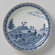 Plate with three figures in a landscape near a village, anonymous, c. 1600 - c. 1699 - Rijksmuseum