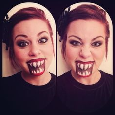 Halloween makeup - ***did a version of this - going to use again but widen the mouth****