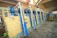 The machine is designed for pressing cold glue planned elements affording glued laminated timber elements with different dimensions. Working dimensions of the machine are: maximum length 12000 mm; package height maximum 1200 mm; maximum thickness 250mm ;