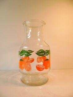 Vintage Anchor Hawking 1 1/2 qt. Glass Orange Juice Carafe,Vintage Orange Juice Pitcher, Oranges, Juice Glass, by BessyBellVintage on Etsy