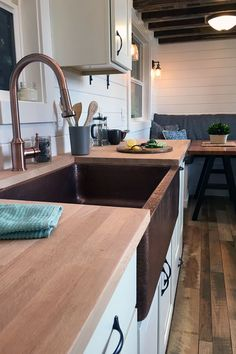 Tiny Heirloom Luxury Custom Built Tiny Homes This sink and tapware! Tiny House Luxury, Tiny House Cabin, Tiny House Living, Small Living, Diy Countertops, Painted Countertops, Tiny House Storage, Tiny Spaces, Small Space