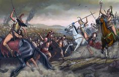 The last battle of the Amazons, led by Penthesilea (right, with an ax in his hand) at the walls of Troy