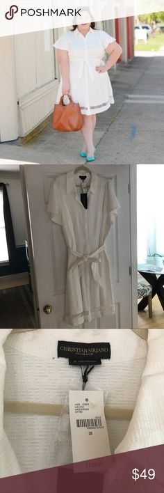 Christian Siriano for Lane Bryant shirt dress Christian Siriano for Lane Bryant jacquard cape sleeve shirtdress, plus size 28. Still has tags, wore for photos and it got lost in the depths of my closet! Lane Bryant Dresses Midi