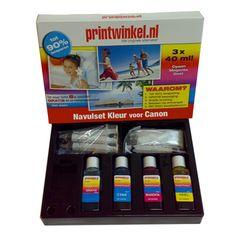 De Canon Navulset Kleur is extra voordelig. Met deze set kunt u met gemak uw cartridges 8 tot 10x navullen!