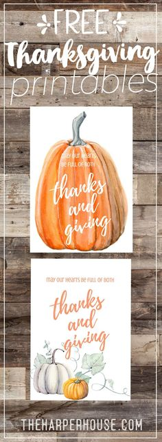 Free Thanksgiving printables | free fall printable | watercolor pumpkin art print