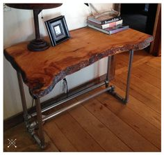 Live Edge Wood Slab Desk by BornInABarnTables on Etsy