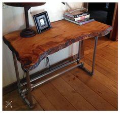 Live Edge Wood Slab Desk by BornInABarnTables on Etsy