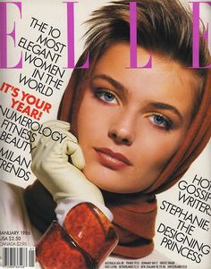 Paulina Porizkova, Elle US January 1986 Paulina Porizkova, Fashion Magazine Cover, Fashion Cover, Magazine Covers, Sophie Dahl, Carly Simon, Elle Us, Original Supermodels, Linda Evangelista